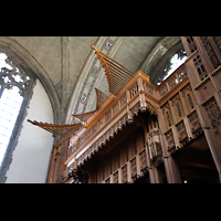 Chicago (IL), University, Rockefeller Memorial Chapel, Horizontalpfeifen der Randel State Trumpet (Gallery Organ)