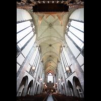 Chicago (IL), University, Rockefeller Memorial Chapel, Westemporenorgel und Blick ins Gewälbe zum Chor