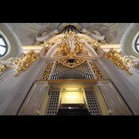 Dresden, Frauenkirche, Orgel mit Spieltisch perspektivisch