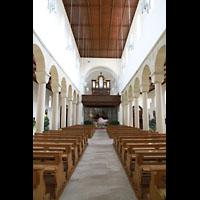 Bamberg, St. Jakob, Innenraum in Richtung Orgel