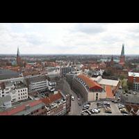 Lübeck, Dom (Hauptorgel), Blick vom St. Petri-Kirchturm auf St. Ägidien (links) und auf den Dom (rechts)