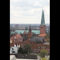 Lübeck, Dom (Hauptorgel), Blick vom St. Petri-Kirchturm nach Süden zum Dom