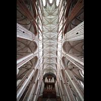 Lübeck, St. Marien (Hauptorgel), Innenraum mit Orgel; Blick zur Decke