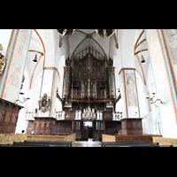 Lübeck, St. Jakobi (Kleine Orgel), Innenraum in Richtung Hauptorgel