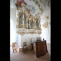 Steingaden - Wies, Wieskirche - Wallfahrtskirche zum gegeißelten Heiland, Orgel und Spieltisch