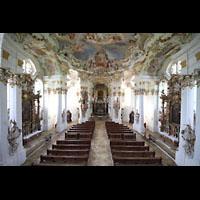 Steingaden - Wies, Wieskirche - Wallfahrtskirche zum gegeißelten Heiland, Blick vom Spieltisch in die Kirche