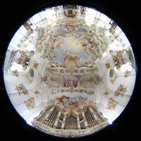 Steingaden - Wies, Wieskirche - Wallfahrtskirche zum gegeißelten Heiland, Orgel und gesamter Innenraum