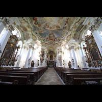 Steingaden - Wies, Wieskirche - Wallfahrtskirche zum gegeißelten Heiland, Innenraum in Richtung Chor