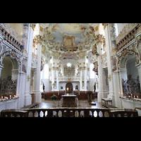Steingaden - Wies, Wieskirche - Wallfahrtskirche zum gegeißelten Heiland, Blick vom Chorraum zur Orgel