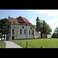 Steingaden - Wies, Wieskirche - Wallfahrtskirche zum gegeißelten Heiland, Außenansicht, Südseite