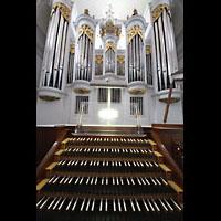 Kempten, St. Mang, Spieltisch und Orgelprospekt