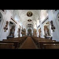 Irsee, Ehem. Abteikirche, Innenraum in Richtung Chor