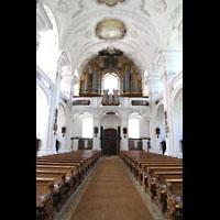 Irsee, Ehem. Abteikirche, Innenraum in Richtung Orgel