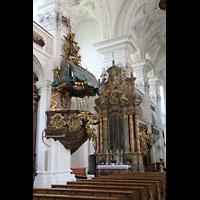 Irsee, Ehem. Abteikirche, Kanzel und Seitenaltar