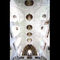 Irsee, Ehem. Abteikirche, Orgel mit Blick ins Deckengewölbe