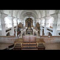 Irsee, Ehem. Abteikirche, Blick vom Spieltisch in die Klosterkirche