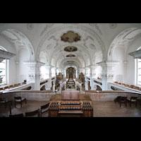 Irsee, Ehem. Abteikirche, Blick von der Orgelempore in die gesamte Kirche