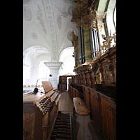 Irsee, Ehem. Abteikirche, Orgel mit Spieltisch