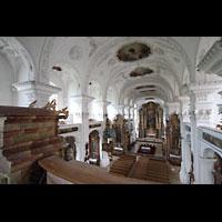 Irsee, Ehem. Abteikirche, Blick über das Rückpositiv in den Innenraum