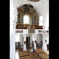 Irsee, Ehem. Abteikirche, Blick vom südlichen Seitenumgang zur Orgel