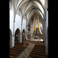 St. Ottilien, Erzabtei, Klosterkirche (Hauptorgel), Blick von der Orgelempore in die Kirche