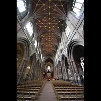 Chester, Cathedral, Innenraum und Deckengewölbe