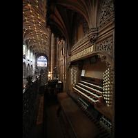 Chester, Cathedral, Blick vom Spieltisch ins Langhaus