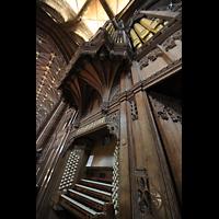 Chester, Cathedral, Spieltisch und Orgel