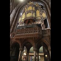 Chester, Cathedral, Orgelempore, im Hintergrund die Pedalpfeifen