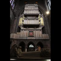 Chester, Cathedral, Orgel, rückseitiger Prospekt im nördlichen Querschiff