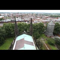 Chester, Cathedral, Dach des Chorraums mit Blick zum neuen Glockenturm von 1975 (rechts)