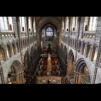Chester, Cathedral, Gesamter Innenraum in Richtung Langhaus, Blick von der Balustrade im Chor