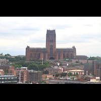 Liverpool, Anglican Cathedral (Hauptorgelanlage), Blick vom Echo Wheel zur Kathedrale