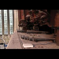 York, Minster (Cathedral Church of St Peter), Pfeifen der Tuba Mirabilis (Solo) auf der Brüstung unter dem Orgelgehäuse