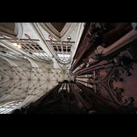 York, Minster (Cathedral Church of St Peter), Blick vom Orgelgehäuse ins Gewölbe