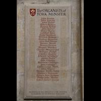 York, Minster (Cathedral Church of St Peter), Tafel der Orgenisten