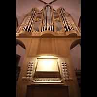 Berlin (Zehlendorf), Pauluskirche (Bach-Orgel), Bach-Orgel - Spieltisch und Prospekt