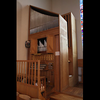 Skálholt, Skálholtskirkja, Linker Orgelteil mit Spieltisch