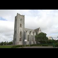 Reykjavík (Reykjavik), Landakotskirkja, Dómkirkja Krists Konungs, Christkönigs-Kathedrale), Außenansicht seitlich