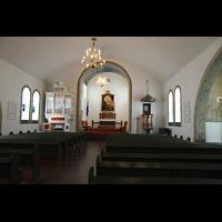 Hafnarfjörður (Hafnafjördur), Kirkja (Romantische Orgel), Innenraum in Richtung Chor