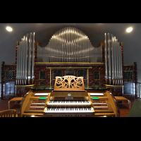 Hafnarfjörður (Hafnafjördur), Kirkja (Romantische Orgel), Emporenorgel mit Spieltisch