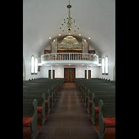 Hafnarfjörður (Hafnafjördur), Kirkja (Romantische Orgel), Innenraum in Richtung romantische Orgel