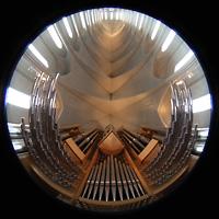 Reykjavík (Reykjavik), Hallgrímskirkja (Chororgel), Orgel, Spieltisch, Chamaden und gesamter Innenraum