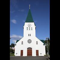 Hafnarfjörður (Hafnafjördur), Kirkja (Romantische Orgel), Fassade mit Turm