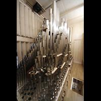 Neubrandenburg, Konzertkirche St. Marien, Pfeifen des Schwellwerks, im Vordergrund die Zungen