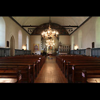 Trondheim, Vår Frue Kirke (Liebfrauenkirche) / Bymision, Innenraum in Richtung Chor