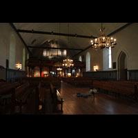 Trondheim, Vår Frue Kirke (Liebfrauenkirche) / Bymision, Innenraum in Richtung Orgel