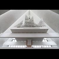 Tromsø - Tromsdalen, Ishavskatedralen (Eismeer-Kathedrale), Orgelempore perspektivisch