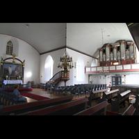 Brønnøysund (Brönnöysund), Kirke (Kleine Orgel), Chor und rechtes Querschiff mit Hauptorgel