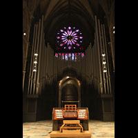 Trondheim, Nidarosdomen (Wagner-Orgel), Hauptorgel mit Spieltisch